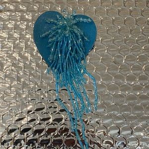 Blue Heart Beaded Pin